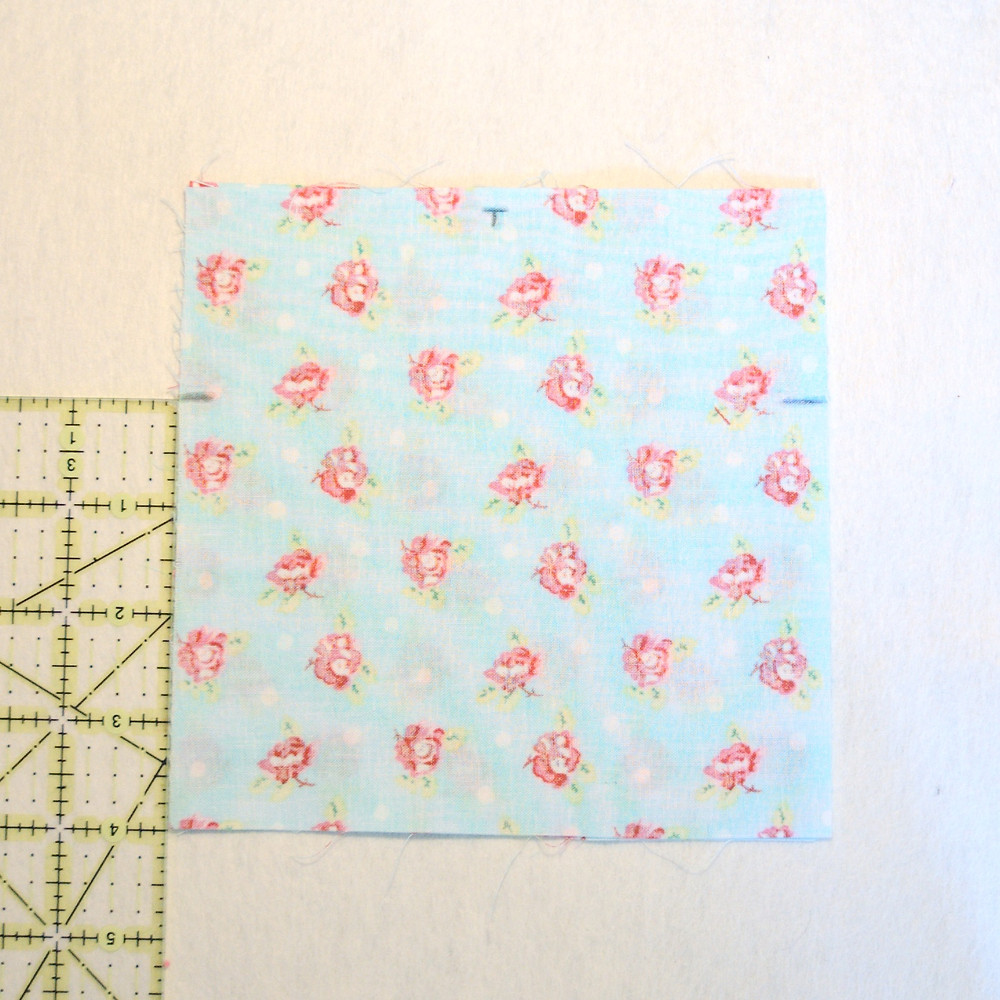 marking squares of fabric for seams