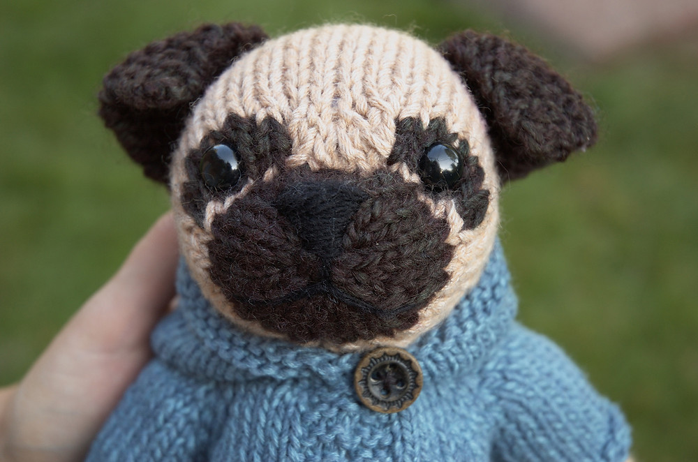 Knitted pug dog toy head and shoulders, facing front.