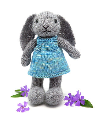 Fuzzy Mitten Toy Knitting Patterns | Bunny with a pinafore dress