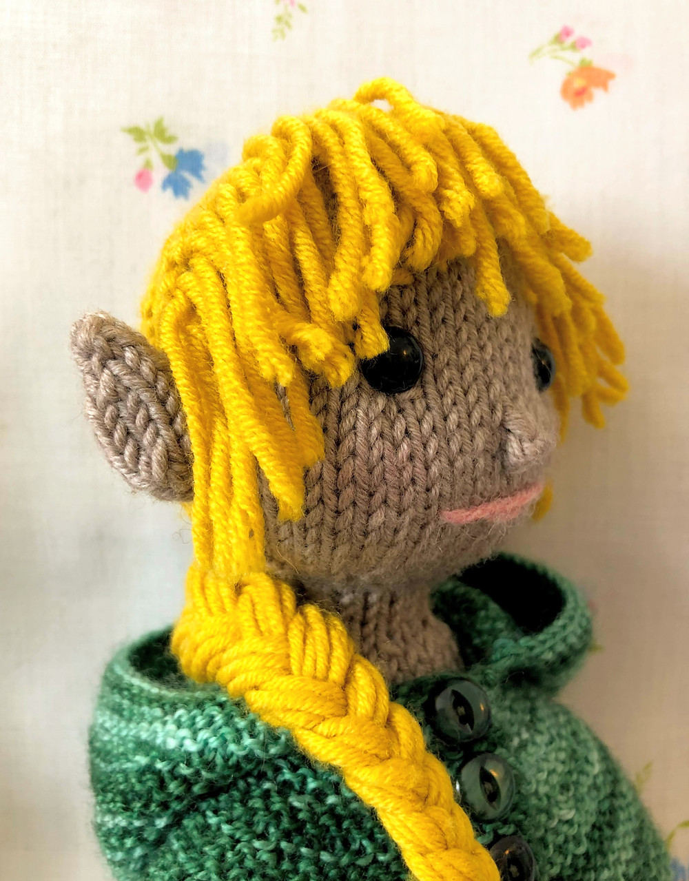 Side view of gold-hair elf doll showing double-layer ears from Mermaid.