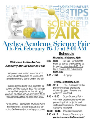 Welcome to the Arches Academy Annual Science Fair!