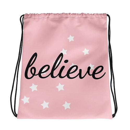 Pink Believe Drawstring bag