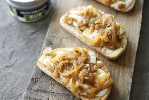 Caramelized Onion, Rosemary & Mozzarella Crostini