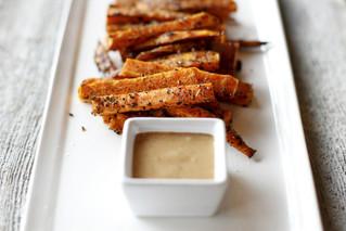 Coffee Roasted Sweet Potato Fries with Smoked Maple Aioli