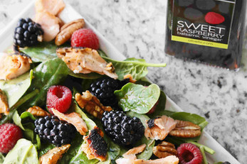 Salmon Salad With Pecans & Berries
