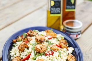 Spanish Grilled Shrimp with Feta & Basil Pasta Salad