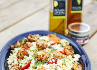 Spanish Grilled Shrimp with Feta & Basil Pasta Salad