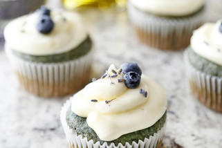 Lemon-Berry Olive Oil Cupcakes With Champagne Frosting