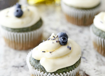 Lavender Olive Oil Cupcakes With Champagne Frosting