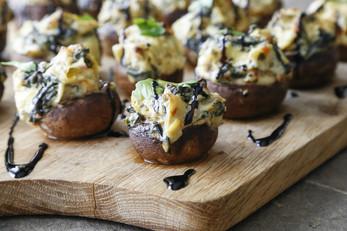 Spinach & Artichoke Stuffed Mushroom Bites