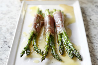 Pancetta-Wrapped Roasted Asparagus With White Balsamic Citrus Vinaigrette