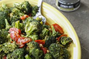 Roasted Broccoli With a Warm Tomato Herb Vinaigrette