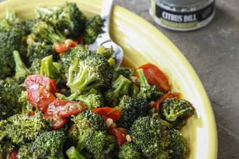 Roasted Broccoli With a Warm Tomato Herb Vinaigrette