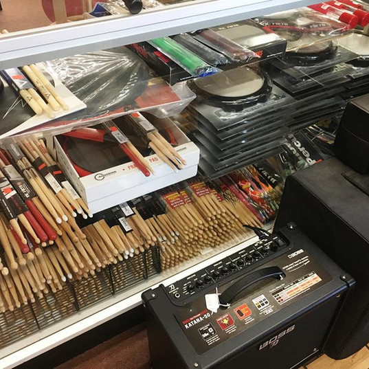 Drum Supplies  Drum sticks, practice pads, mallets & stands at the front counter!