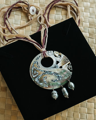 Long Circle Necklace with abalone and pearls