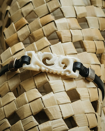 Bone Bracelet with leather.