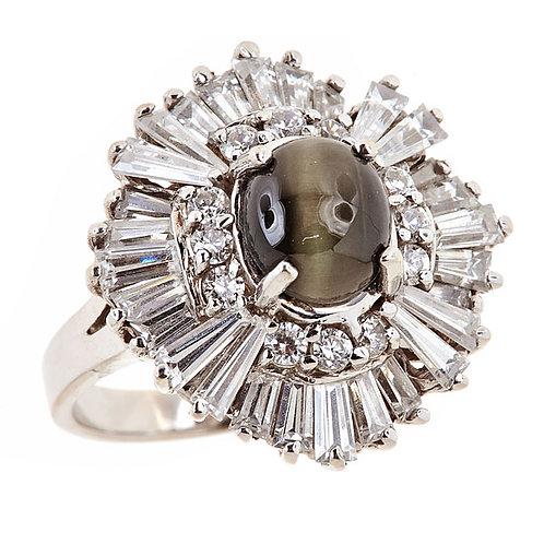Cats eye Chrysoberyl ring 14 karst white gold