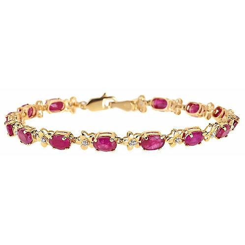 Ruby diamond bracelet 14 karat yellow gold