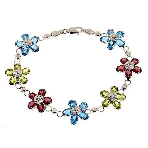 Multi gem Flower design Bracelet 14 karat gold
