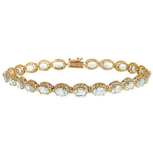 Aquamarine filigree bracelet 14 karat yellow gold