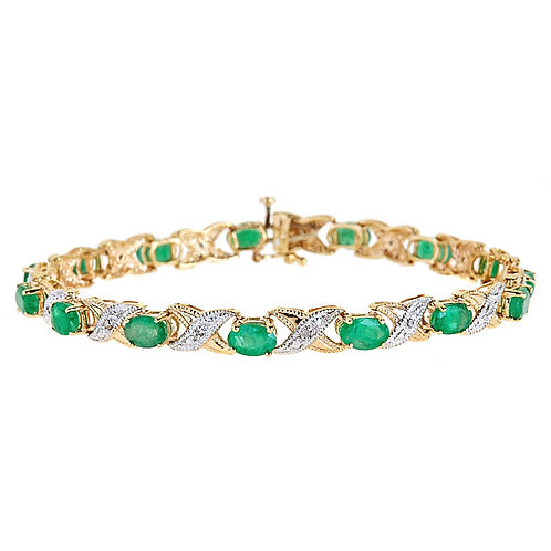 Emerald diamond bracelet 14 karat yellow gold