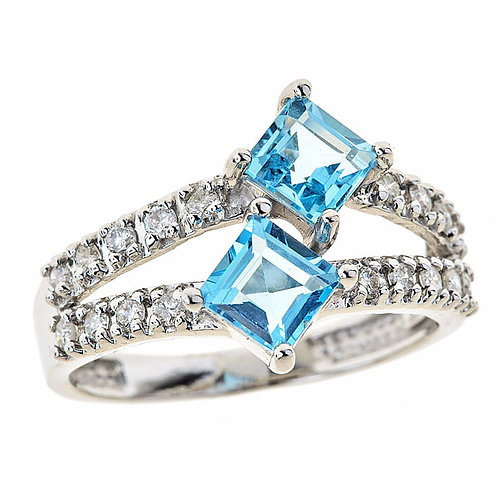 Blue topaz 14 karat white gold ring