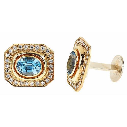 Aquamarine diamond cuff links 18 karat gold