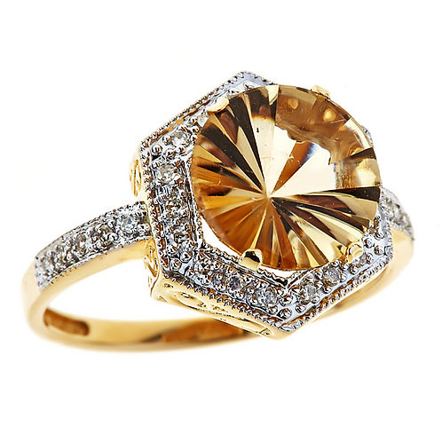 Citrine  especial laser cut 14 karat yellow gold