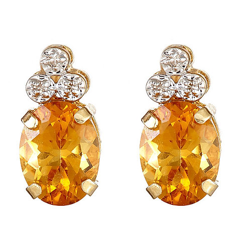 Citrine diamond earrings 14 karat yellow gold