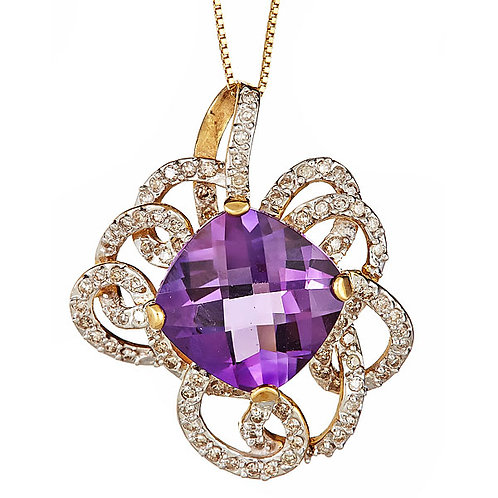 Amethyst and diamond pendant in 14 kt gold
