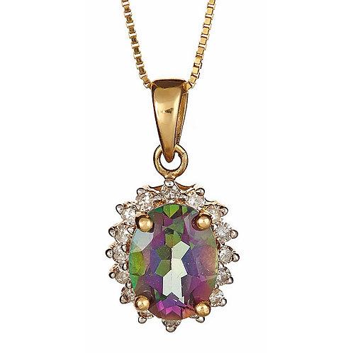 Mystic topaz and diamond pendant in 14 kt gold