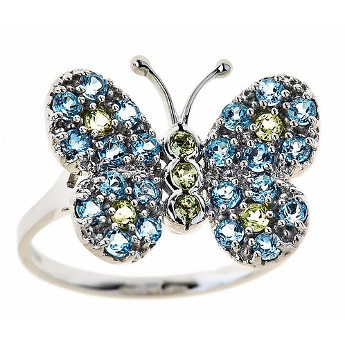 Swiss and sky blue topaz butterfly ring 14 kt gold