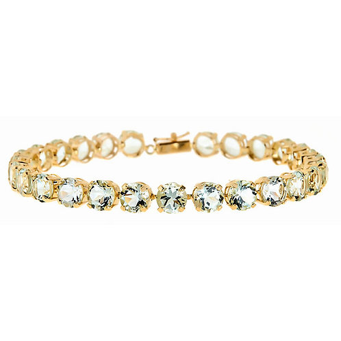 Green Amethyst Bracelet 14 karat yellow gold