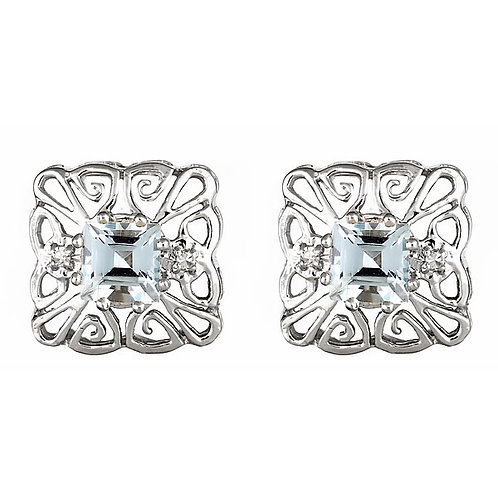 Aquamarine earrings filigree 14 karat white gold