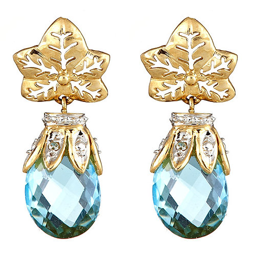Blue topaz brollie earrings 14 kt yellow gold
