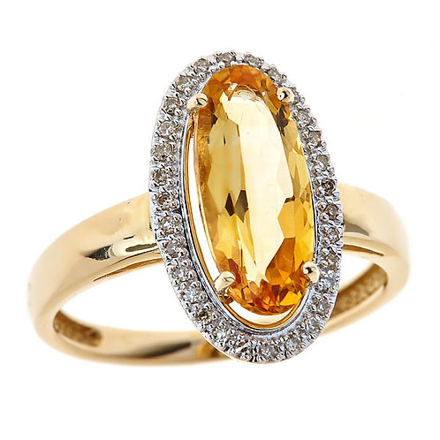 Citrine and diamond ring in 14 karat gold