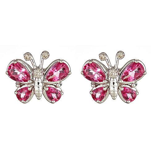 Pink topaz butterfly earrings in 14 kt white gold