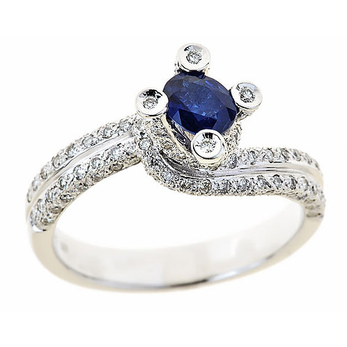 Burmese blue sapphire and diamond ring 14 karat