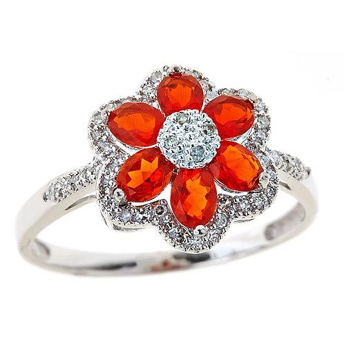 Fire opal diamond ring 14 karat white gold