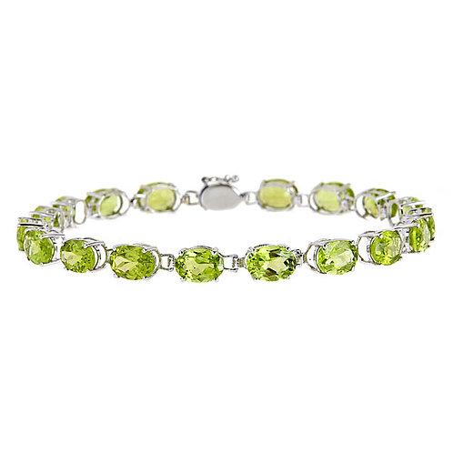 14 karat white gold peridot bracelet