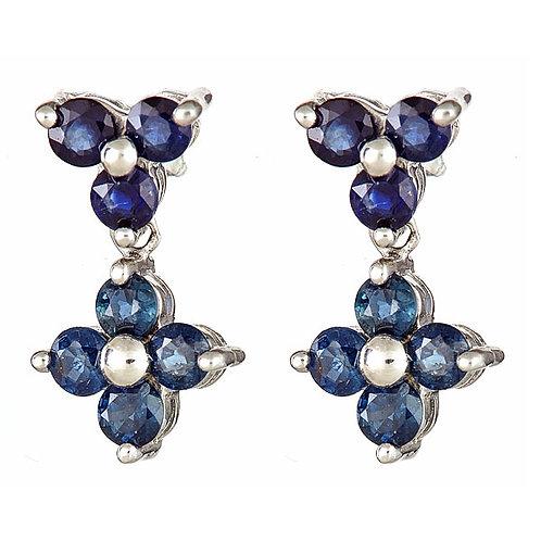 Sapphire earrings 14 karat white gold