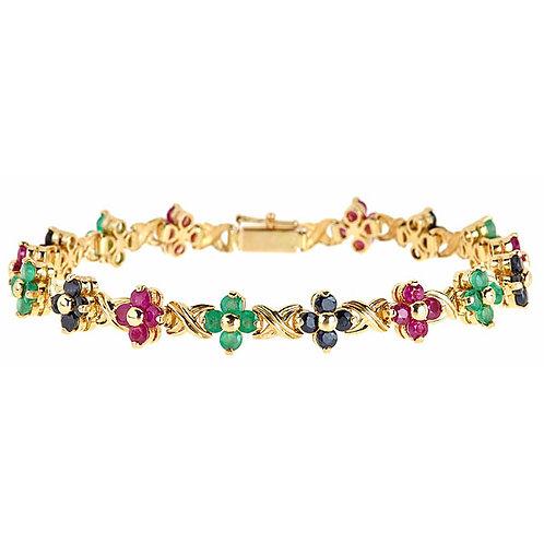 14 karat ruby emerald sapphire bracelet