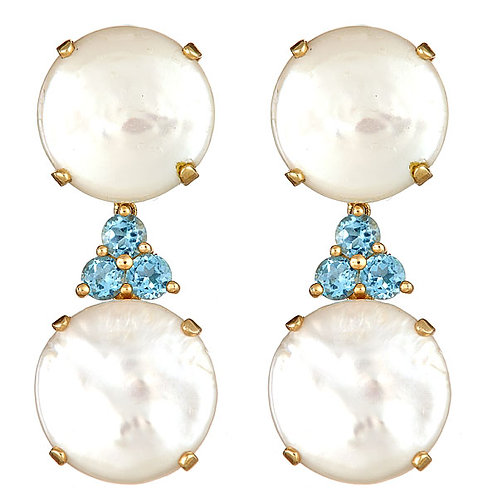Pearl and blue topaz earrings 14 karat yellow gold
