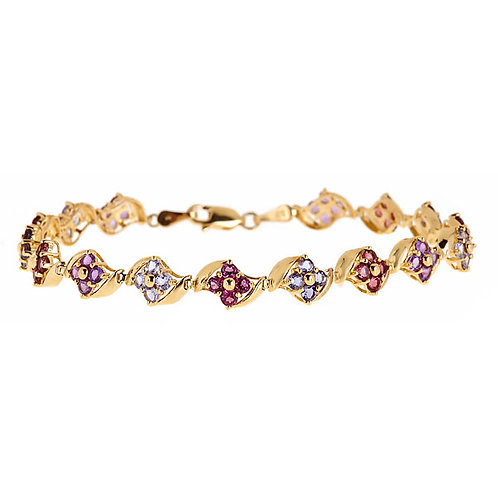 Multi gem bracelet 14 karat yellow gold