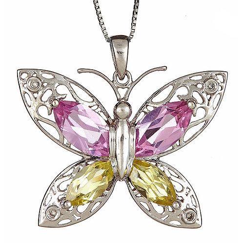 Pink topaz and lemon topaz butterfly pendant