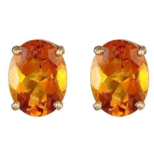 Citrine earrings in 14 karat yellow gold