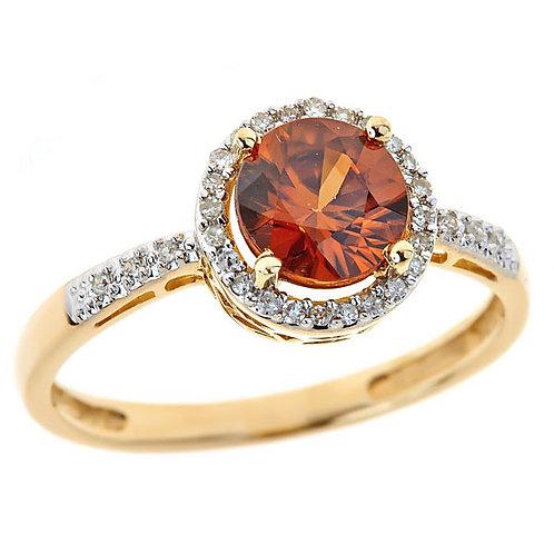 Citrine (madeira color) and diamond ring 14 karat