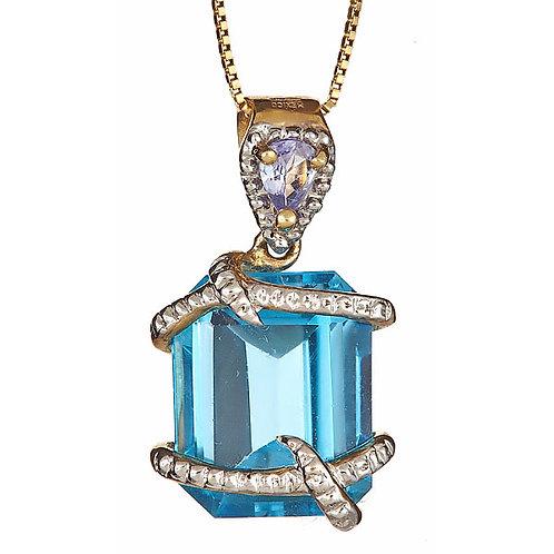 Blue topaz and tanzanite ribbon wrapped pendant