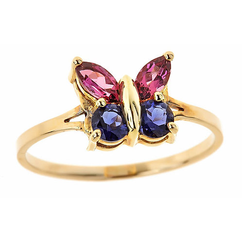 Tourmaline and tanzanite butterfly ring 14 karat