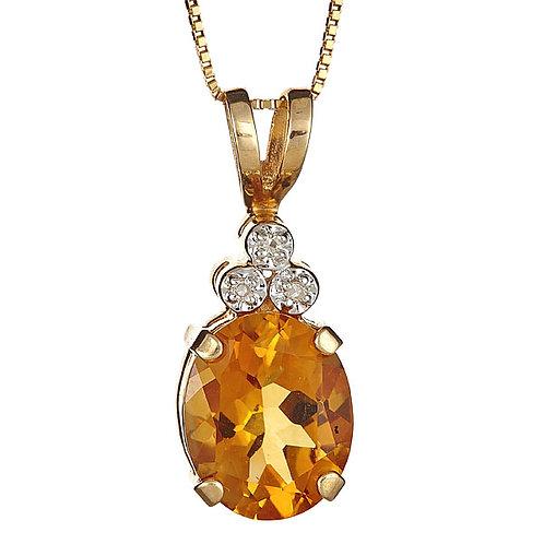 Citrine and diamond pendant in 14 karat gold